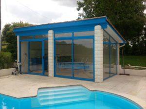 Fermeture d'abri de piscine en Aluminium Bleu
