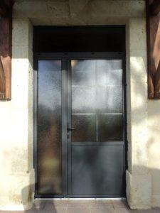 Porte d'entrée tiercé avec imposte en Alu Anthracite