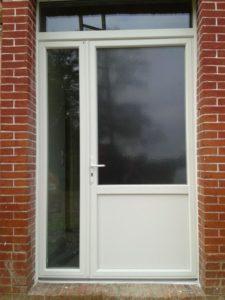 Porte d'entrée tiercé en PVC Blanc